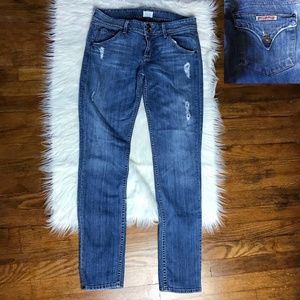 Hudson Collin Distressed Flap Skinny Jeans